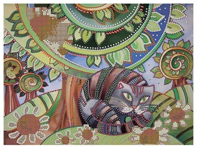 Канва для вышивания с рисунком Gamma Кот и ромашки OBB-0103 30 х 39 см