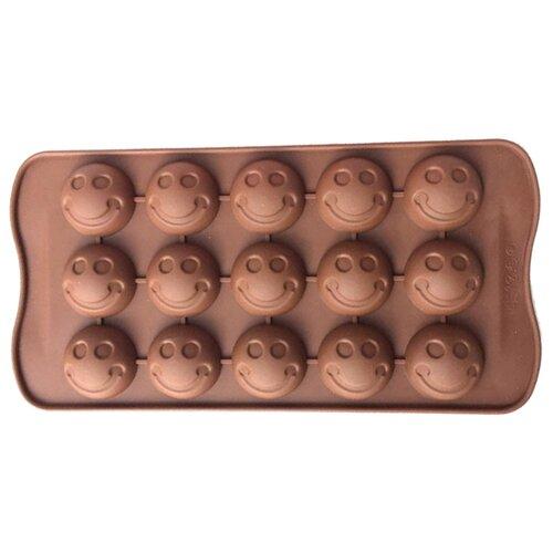 Форма для шоколада Доляна Шарик смайл, 15 ячеек шоколадный