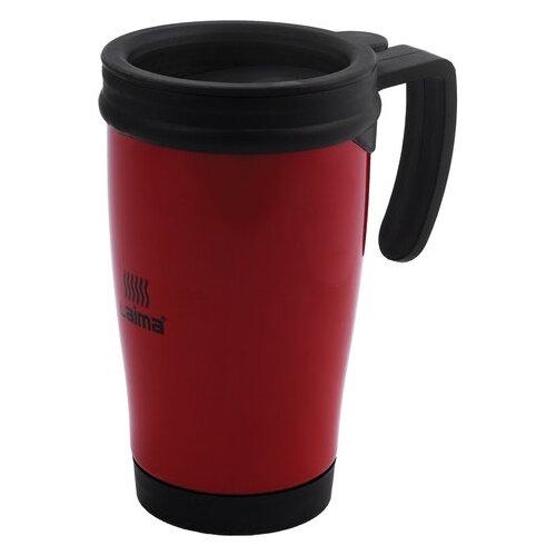 Термокружка ЛАЙМА, 400 мл, нержавеющая сталь, пластиковая ручка, красная, 605127