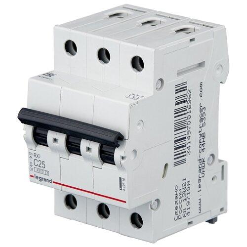 Автоматический выключатель Legrand RX3 3P (C) 4,5kA 25 А legrand выключатель авт 2п c 25а rx3 4 5ка leg 419699