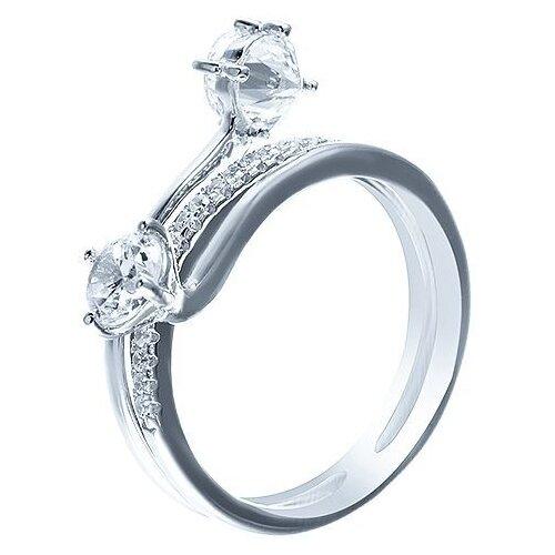 JV Кольцо с фианитами из серебра SS-B0856R-KO-001-WG, размер 17 jv кольцо с фианитами из серебра ss b0842rcb ko 001 wg размер 17 5