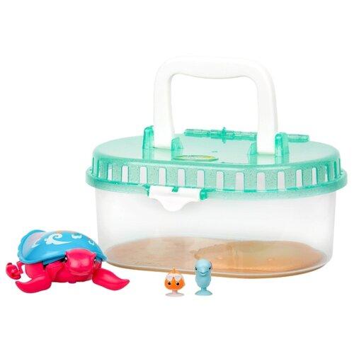 Купить Робот Moose Little Live Pets Черепашка и друзья в аквариуме Песчинка 28563 голубой/розовый, Роботы и трансформеры