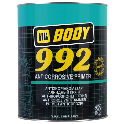 Грунт-праймер HB BODY 992 серый 1 л грунт праймер hb body 960 комплект 2 шт светло жёлтый 1 л