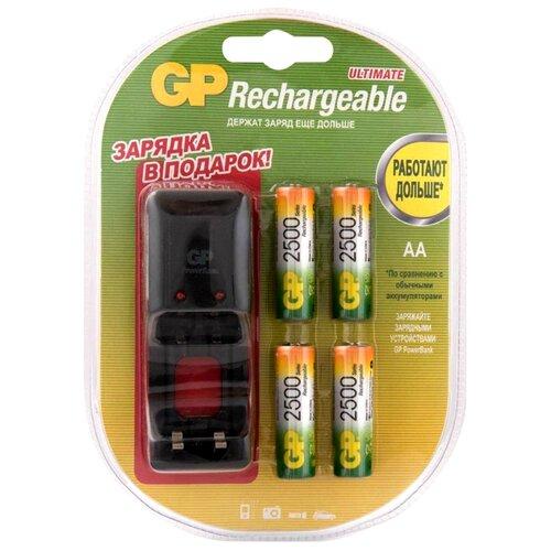 Купить Аккумулятор Ni-Mh 2500 мА·ч GP Rechargeable 2500 Series AA + зарядное устройство 4 шт блистер