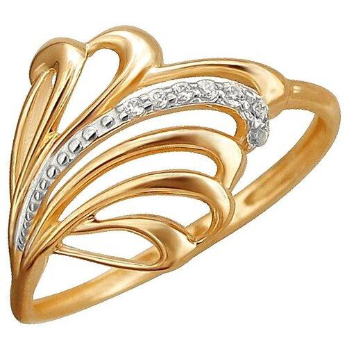 Эстет Кольцо с 7 фианитами из красного золота 01К1112093Р, размер 16.5