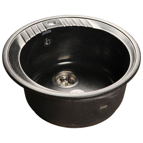 Врезная кухонная мойка 52 см GranFest Rondo GF-R520 черная кухонная мойка rossinka rs48 49s черная