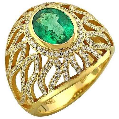 Эстет Кольцо с изумрудом и бриллиантами из жёлтого золота 750 пробы 01К646858-1, размер 17 sargon jewelry кольцо с бриллиантами и изумрудом из жёлтого золота r1311 2010 размер 17 5