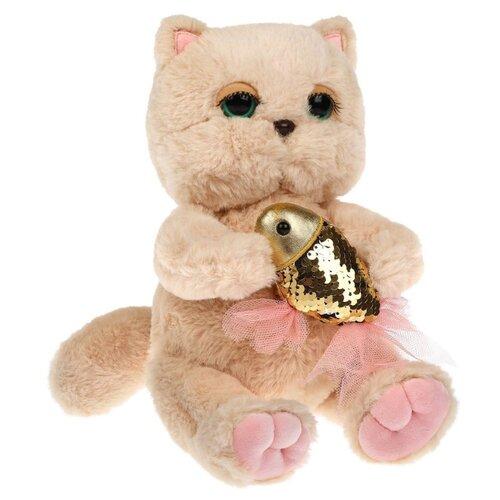 Купить Мягкая игрушка Angel Collection Киска Персик с рыбкой 24 см, Мягкие игрушки
