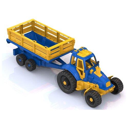 Купить Трактор Нордпласт с прицепом (396) синий/желтый, Машинки и техника