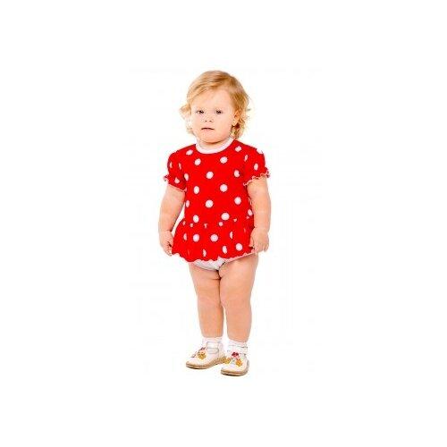 Платье-боди Дашенька размер 86, горох/красный