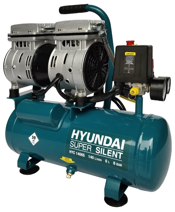 Компрессор безмасляный Hyundai HYC 1406S, 6 л, 0.75 кВт