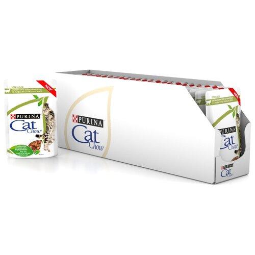 Корм для стерилизованных кошек CAT CHOW с ягненком и с зелёной фасолью 24шт. х 85 г (кусочки в соусе) корм для стерилизованных кошек мнямс с ягненком 100 г кусочки в соусе