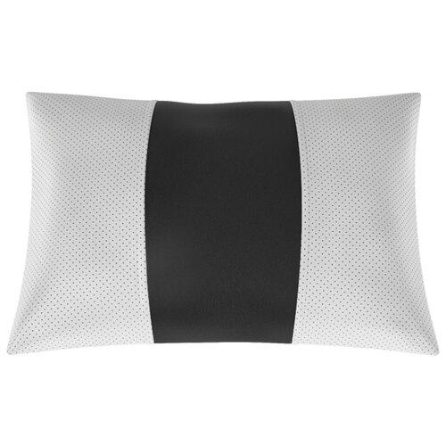 Автомобильная подушка, поясничный подпор Экокожа. Середина: чёрная гладкая экокожа. Боковины: серая экокожа с перфорацией.