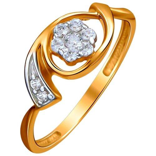 Эстет Кольцо с 9 фианитами из красного золота 01К1112502, размер 16