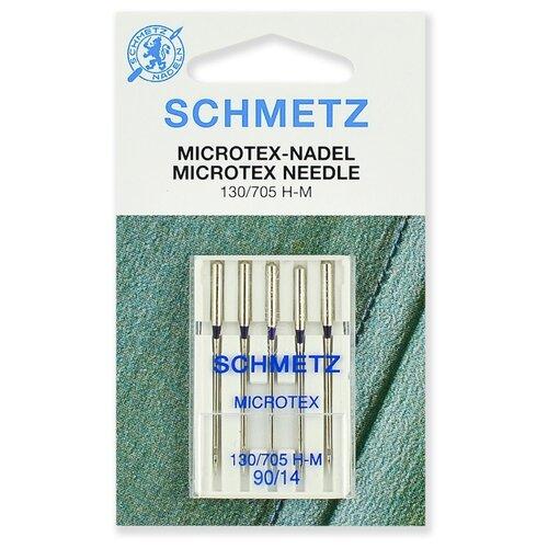 Игла/иглы Schmetz Microtex 130/705 H-M 90/14 особо острые серебристый