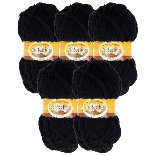 Пряжа Adelia Dolly однотонная, 100 % полиэстер, 100 г, 40 м, 5 шт., №02 черный  - купить со скидкой