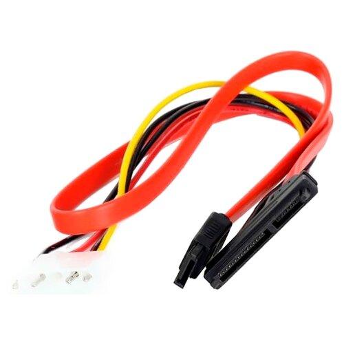 Переходник VCOM SATA 7+15pin - SATA 7pin/Molex 4pin (VHC7702) 0.45 м красный переходник sata 13930