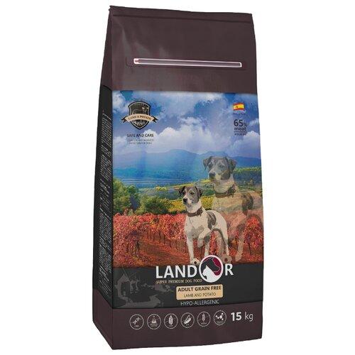 Сухой корм для собак Landor (15 кг) Adult Grain Free Lamb&Potato с бататом и ягненком для любой собаки 15 кг сухой корм для собак landor 3 кг adult lamb with rice с мясом ягненка 3 кг