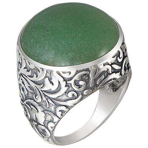 Эстет Кольцо с хризопразами из чернёного серебра К3К453543Ч, размер 19 кольцо с хризопразами из чернёного серебра