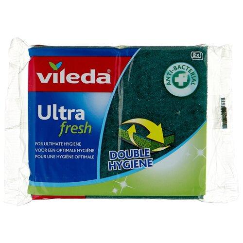губка для мытья посуды vileda inox металлическая 2 шт Губка для посуды Vileda Ультра Фреш 2 шт