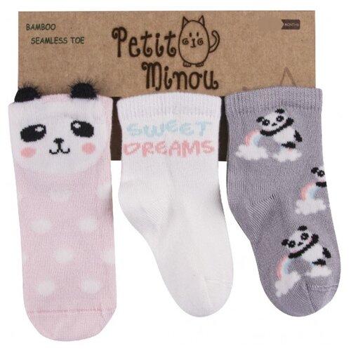 цена на Носки Petit Minou комплект из 3 пар, размер 1-6 мес, серый/розовый/молочный