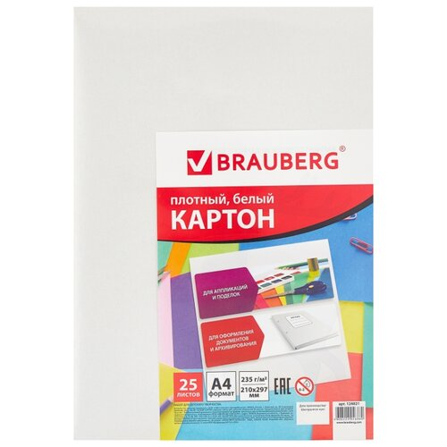 Купить Белый картон мелованный BRAUBERG, A4, 25 л., Цветная бумага и картон