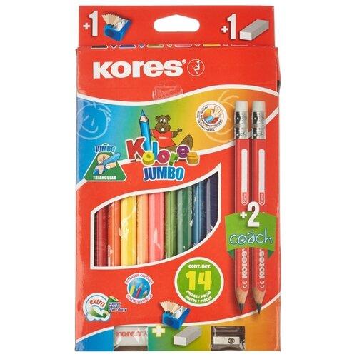 Карандаши цветные Kores 12 цветов, 3 грани, Jumbo (93514.01)
