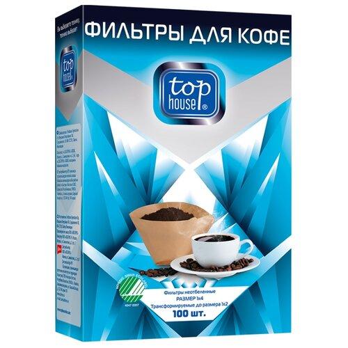 Одноразовые фильтры для капельной кофеварки Top House Неотбеленные Размер 1х4 100 шт.