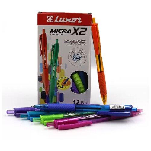 Фото - Luxor Набор шариковых ручек Micra X2, 0.7 мм, 12 штук, синий цвет чернил luxor набор капиллярных ручек luxor mini fine writer 045 20 цветов