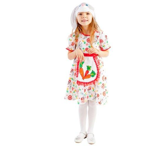 Купить Костюм пуговка Зайка Лена (1055 к-19), белый/красный/оранжевый, размер 104, Карнавальные костюмы