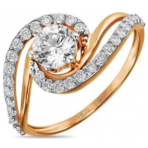 ЛУКАС Кольцо с кристаллом swarovski и фианитами из красного золота R01-C-SW-59274-Z, размер 16.5