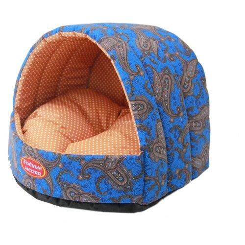 Домик для собак и кошек Родные места Колыбелька №2 Огурцы 44х44х36 см синий