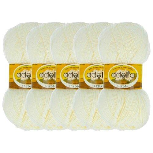 Купить Пряжа Adelia Leda, 99 % акрил, 1 % люрекс, 100 г, 340 м, 5 шт., 200 молочный