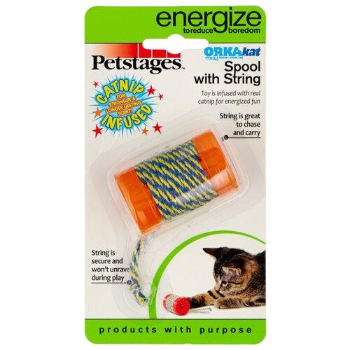 цена на Игрушка для кошек Petstages Orka Катушка с ниткой (313YEX) голубой/оранжевый