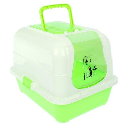 Туалет-домик для кошек Пижон 1391049\1391050\1391051 51.5х40х38.5 см зеленый/белый