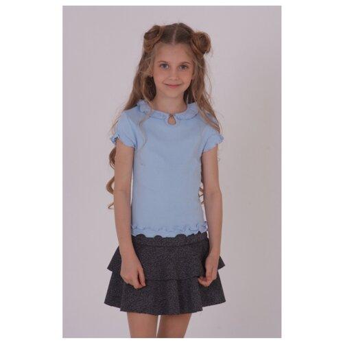 Купить Блузка Снег размер 152, голубой, Рубашки и блузы