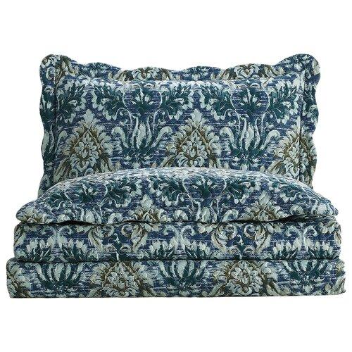 Комплект с покрывалом Arya Oprah 250 х 260 см + 2 наволочки 50 х 70+5 см синий