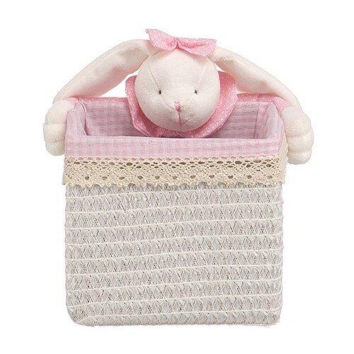 Handy Home Корзина для белья Зайчик 18x18x16 см белый/розовый корзина бельевая handy home решетка д410 ш290 в300 белый