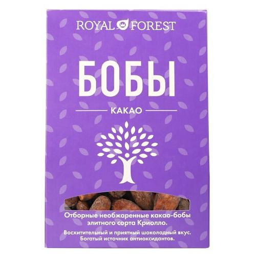 ROYAL FOREST Какао-бобы необжаренные, неочищенные, коробка, 100 г