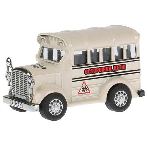 Автобус ТЕХНОПАРК школьный (1405989-R) 8 см бежевый