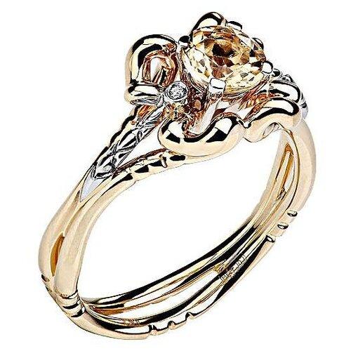 Эстет Кольцо с гелиодором и бриллиантами из комбинированного золота 01К669682Ж-2, размер 17