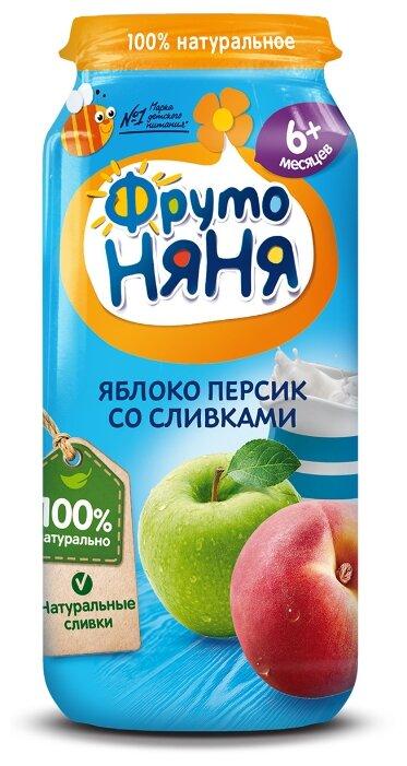 Пюре ФрутоНяня из яблок и персиков со сливками (с 6 месяцев) 250 г, 1 шт