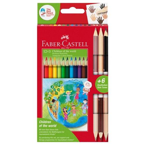 Купить Faber-Castell Карандаши цветные Дети мира 18 цветов (201744), Цветные карандаши