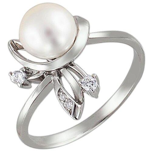 Эстет Кольцо с жемчугом, фианитами из серебра С15К351060, размер 17 ЭСТЕТ