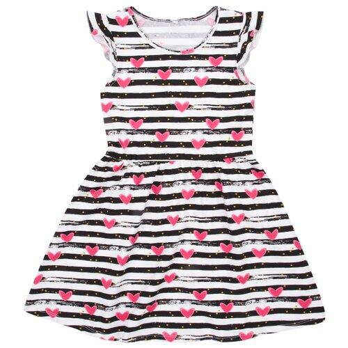 Платье Leader Kids размер 128, белый/черный/розовый