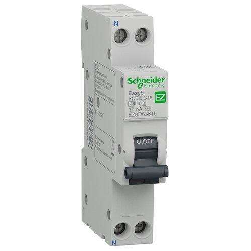 Дифференциальный автомат Schneider Electric Easy 9 2П 10 мА C 16 А диф автомат schneider electric ez9d34640