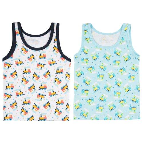 Купить Майка Leader Kids 2 шт., размер 98-104, зеленый/белый/синий, Белье и пляжная мода