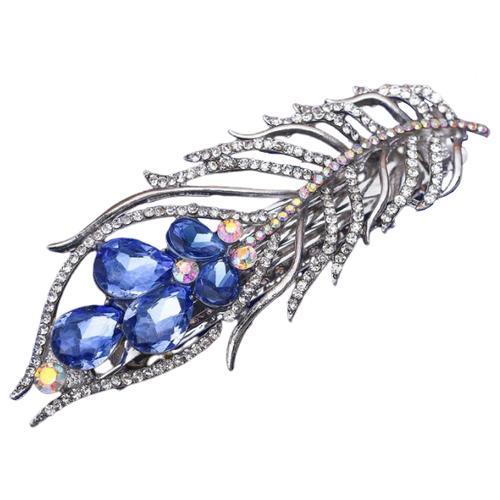Заколка-автомат Queen fair Перо павлина (2788724) серебряный/синий
