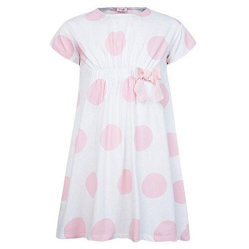 Платье Il Gufo размер 92, белый/горошек/розовый