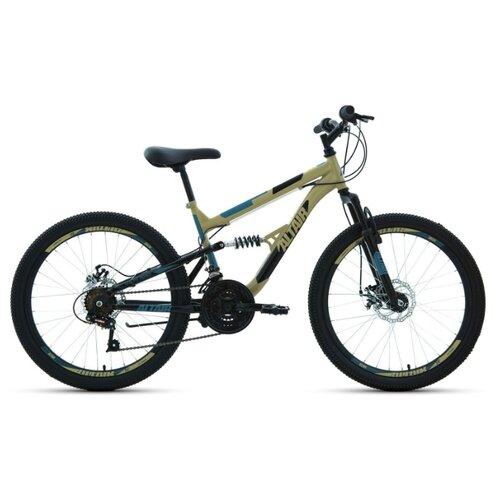 """Подростковый горный (MTB) велосипед ALTAIR MTB FS 24 Disc (2020) бежевый/черный 14.5"""" (требует финальной сборки)"""